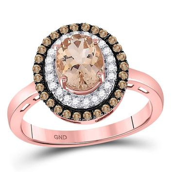10kt Rose Gold Women's Oval Morganite Solitaire Diamond Fashion Ring 1-1/2 Cttw