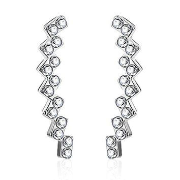 BodyJ4You Pair of CZ Paved Lined Squares Crystal Clear Ear Crawler Silvertone Ear Climber