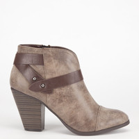 City Classified Brag Womens Booties Taupe  In Sizes
