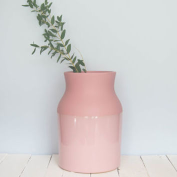 Large Dipped Peach Pink Vase