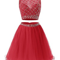 Women's Short V Neck Homecoming Dress Fitted Formal Gowns With Beads Sequins