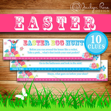 Printable Easter Egg Hunt: Easter basket fun idea, Easter Activities, Easter Kids Rhyming riddle clues (Instant digital download - PDF)