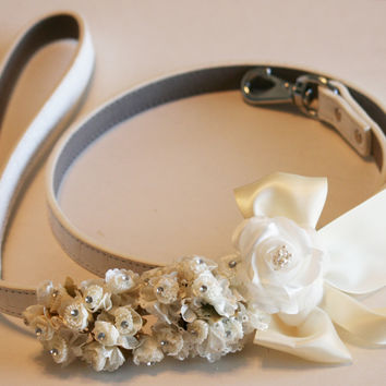 White Ivory dog Leash, Pet Wedding accessory