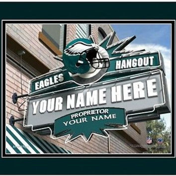 Football-NFL Sports Hangout Print Philadelphia Eagles Personalized Framed