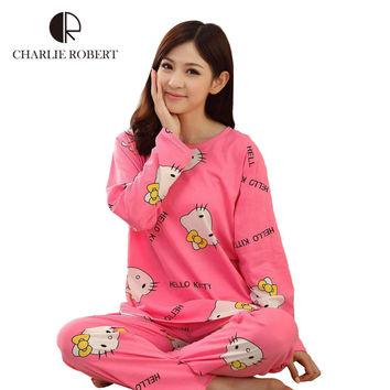 Cartoon Women Pajamas Sets 2016 Cotton Autumn&winter Long Sleeve Nightgown Girls Pajamas Sets Hello Kitty Style Clothing