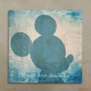 Disney wall art canvas in vintage style mickey mouse 'Never Stop Dreaming'