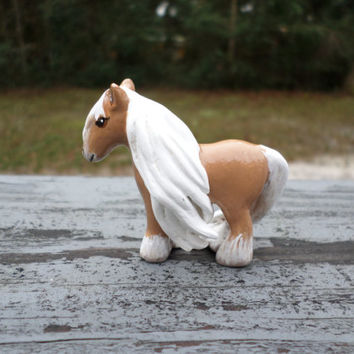 Hand sculpted paper clay miniature horse pony totem