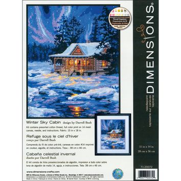 """11""""X14"""" Stitched In Thread Winter Sky Cabin Needlepoint Kit"""