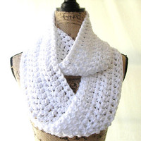 Ready To Ship New White and Metallic Silver Holiday Cowl Scarf Fall Winter Women's Accessory Infinity