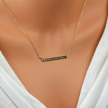 Three Name Necklace, Cz Diamond Necklace, Long Bar, Personalized Necklace, Engraved Bar Necklace, Multiple Name