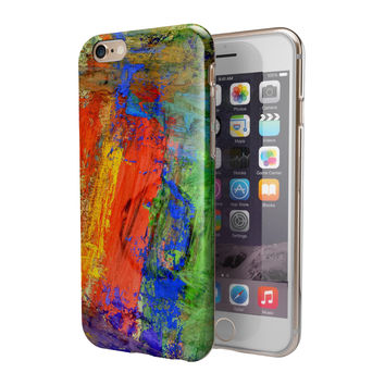 The Abstract Bright Primary and Secondary Colored Oil Painting 2-Piece Hybrid INK-Fuzed Case for the iPhone 6/6s or 6/6s Plus