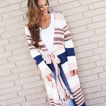 Like I Dreamed It Chenille Knit Open Long Cardigan (Blush/Ivory)