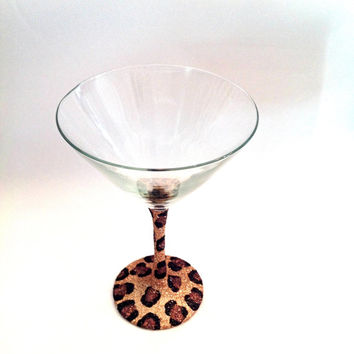 Glitter cheetah martini glass
