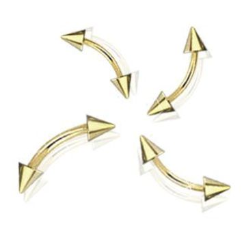 16GA Gold Plated Spike Curved Barbell