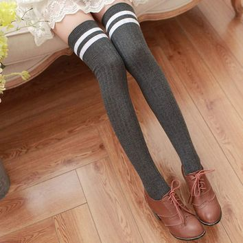 Womens Fashion Striped Thigh High Stockings Sexy Warm Knit Crochet Over Knee Long Stockings For Girls Autumn Winter Leggings