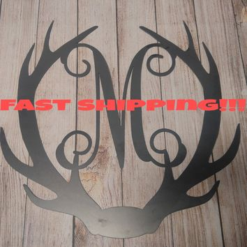 Deer Antler Decor, Antler Door Hanger, Unfinished Door Wreath, Rustic Letter, Antler Door Hanger, Wedding Gift, Huntress Wall Decor, Hunter