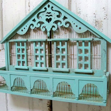 Ornate decorative shelf or plant holder house silhouette cottage style aqua sea foam wall decor Anita Spero