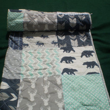 Baby quilt-Deer Baby quilt-baby boy bedding-baby girl quilt,woodland,rustic,mint,grey,navy,deer,stag,bear,moose,arrow,chevron-Mint Woodsy