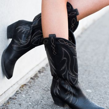 Rodeo Cutie Leather Cowboy Boots (Black)