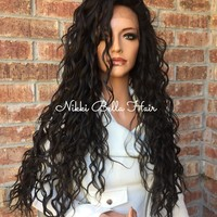 Brown Wavy Swiss Human Hair Blend Multi Parting lace part wig 26""