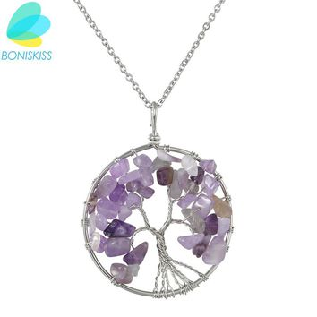 Boniskiss Life Tree Necklace Christmas Gifts Collares For Grandma Necklaces & Pendants Women Purple Crystal 2017 Collier Femme
