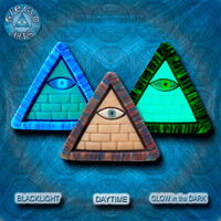 EyeGloArts blacklight Psytrance GLOW in the dark jewelry rave candy Illuminati all seeing eye sand pyramid pendant clubwear