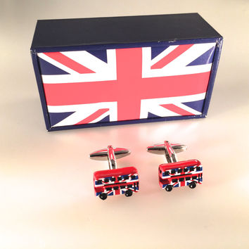 Double Decker Bus Cuff Links, UK Flag Cufflinks, Transportation Cuff Links, Wedding Cuff Links, Father's Day, Graduation Gift