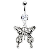 14g Dangling Vintage Butterfly and Clear Gem Belly Button Ring Navel Body Jewelry Piercing with Surgical Steel Curved Barbell 14 Gauge