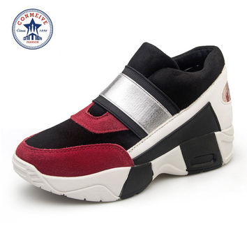High Quality Women Wedge Sneakers Women's Height Increasing 4 cm Wedges High Heel Shoes