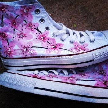 ICIKGQ8 hand painted pink japanese cherry blossoms on converse chucks hi tops for women