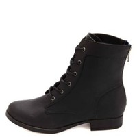 Colored Zipper Lace-Up Combat Boots by Charlotte Russe - Black