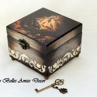 Wooden jewelry box - dragon gift - fantasy art - gift for kid - girlfriend gift - gift for girl teenager - gothic box - birthday gift woman