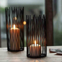 Candle Holder, M-Home Iron Pillar Candle Holder for Home Decor, Christmas Gift