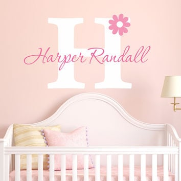 Nursery Flower Name Wall Decal - by Decor Designs Decals, Flower wall decal - Girls Name Daisy - Nursery Wall Decal- Girls Wall Decal- Teen Decal - Flower Decal Z19