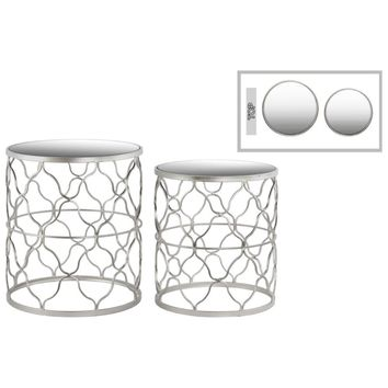 Round Nesting Table Mirror Top Quatrefoil Lattice Design Set of 2-Benzara