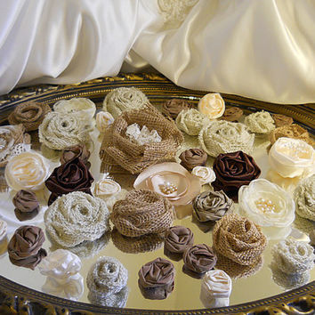 Set of 45 Flowers, Handmade Neutral Tones and Burlap, for weddings, bouquet making, wedding decor, cake toppers,