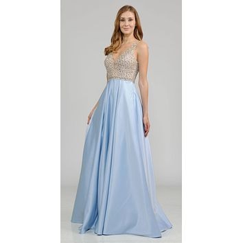 Blue Beaded Bodice V-Neck Long Prom Dress with Pockets