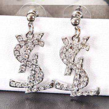 YSL New fashion letter more diamond earring accessories Silver
