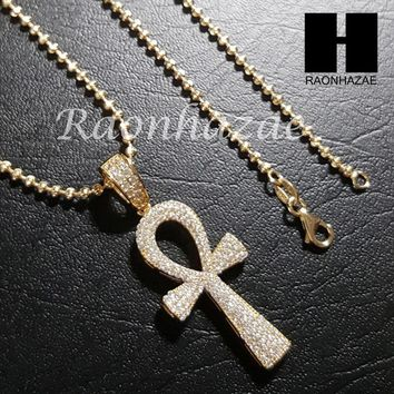 "Sterling Silver .925 AAA Lab Diamond Ankh Cross 2.5mm 20"" 24"" Moon Cut Chain 39G"