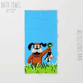 Duck Hunt Towel Video Game Bath Beach Terry Hand Bathroom Decor Gift Unique Fandom Gaming Gamer NES Retro Arcade For Guy Men Dog Hunting 80s