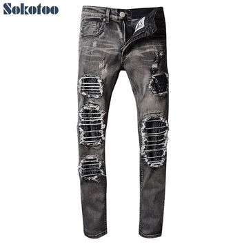 Sokotoo Men's slim skinny motorcycle pleated ripped biker jeans PU leather patch gray black holes torn stretch denim pants