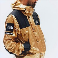 Supreme X The North Face Fashion Cool Metal Color Hooded Cardigan Jacket Coat Windbreaker Sportswear Golden