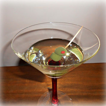 Martini Cocktail Olives Red Stem Beefeater Glass Fake Food Staging Photo Prop