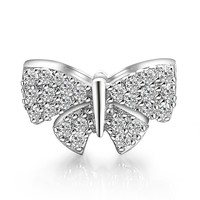Caperci Charms Sterling Silver 925 Crystal Butterfly Bowknot Charm Bead Fits Pandora Bracelets