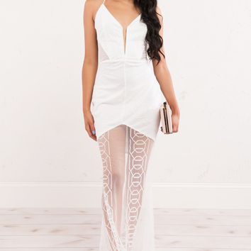 White Mesh Long Dress with White Undelayer
