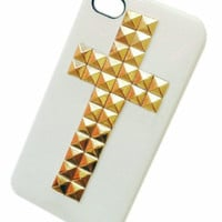 DIY Punk Style Mobile Phone Protective Skin for iphone 5 4s Skin with Gold Studs and Spikes White Case Cove  IP5-30