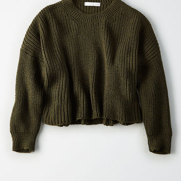 Don't Ask Why Chunky Crop Sweater , Olive