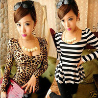 Korea Fashion Women Slim Leopard Stripe Print Casual Cocktail Party T-shirt Tops