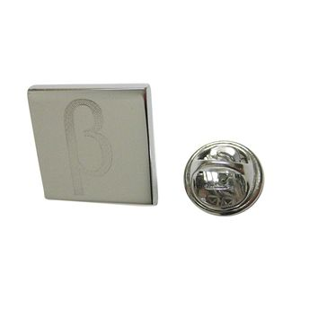 Silver Toned Etched Greek Letter Beta Lapel Pin