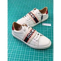 Free shipping-GUCCI Tide brand flat white shoes